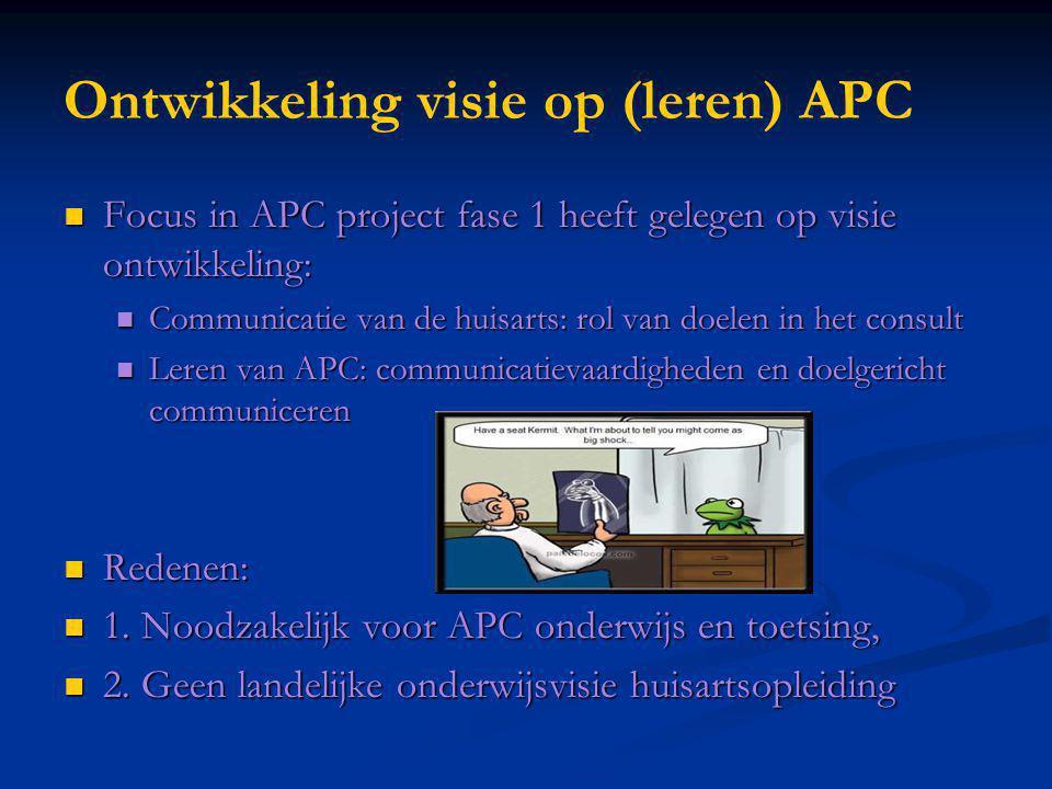 Ontwikkeling visie op (leren) APC Focus in APC project fase 1 heeft gelegen op visie ontwikkeling: Focus in APC project fase 1 heeft gelegen op visie