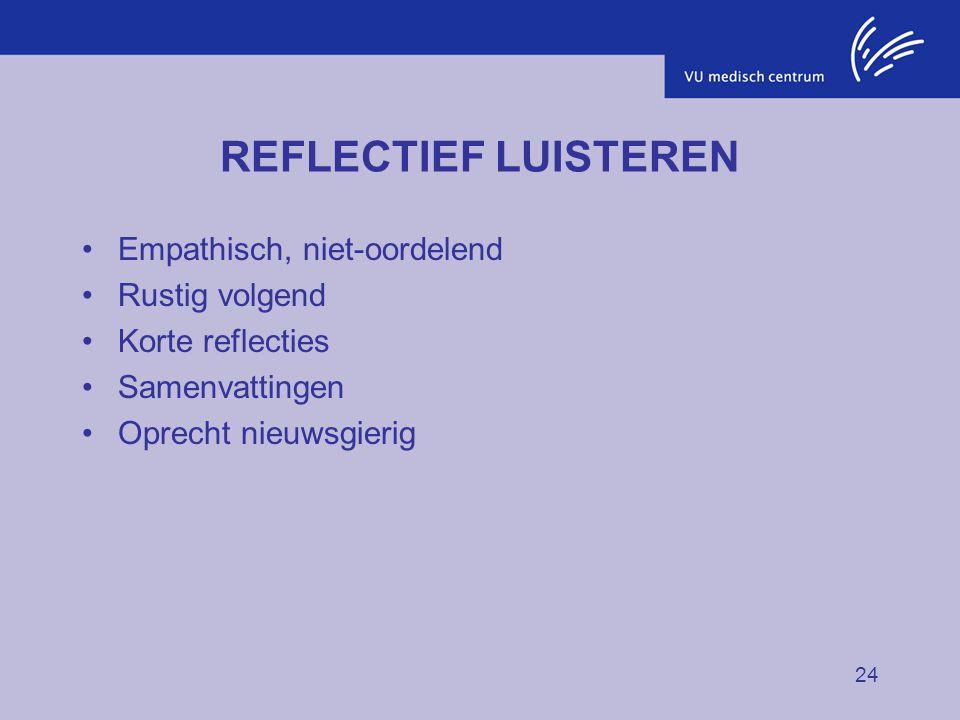 24 REFLECTIEF LUISTEREN Empathisch, niet-oordelend Rustig volgend Korte reflecties Samenvattingen Oprecht nieuwsgierig