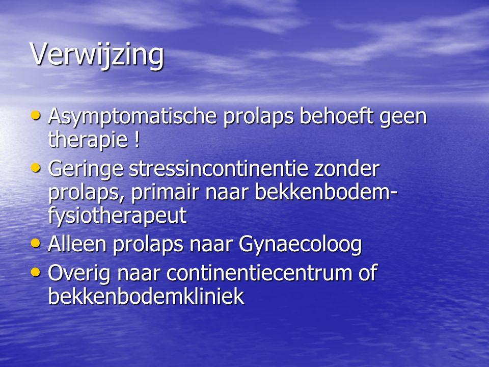 Verwijzing Asymptomatische prolaps behoeft geen therapie ! Asymptomatische prolaps behoeft geen therapie ! Geringe stressincontinentie zonder prolaps,