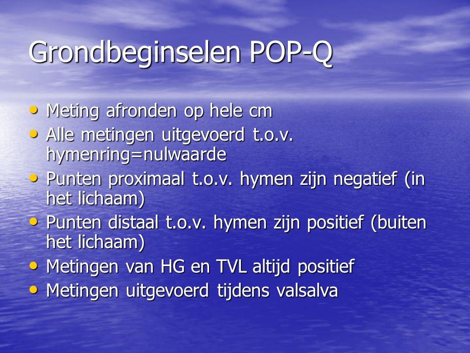 Grondbeginselen POP-Q Meting afronden op hele cm Meting afronden op hele cm Alle metingen uitgevoerd t.o.v. hymenring=nulwaarde Alle metingen uitgevoe