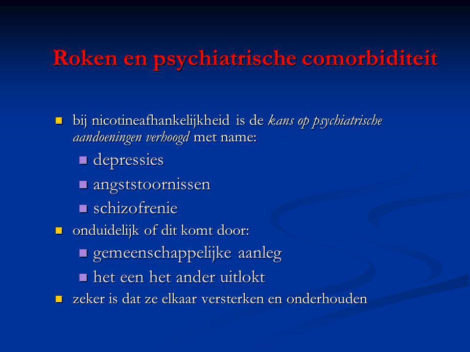 Roken en psychiatrische comorbiditeit bij nicotineafhankelijkheid is de kans op psychiatrische aandoeningen verhoogd met name: bij nicotineafhankelijk