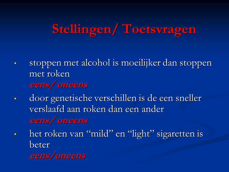Stellingen/ Toetsvragen stoppen met alcohol is moeilijker dan stoppen met roken eens/ oneens stoppen met alcohol is moeilijker dan stoppen met roken e