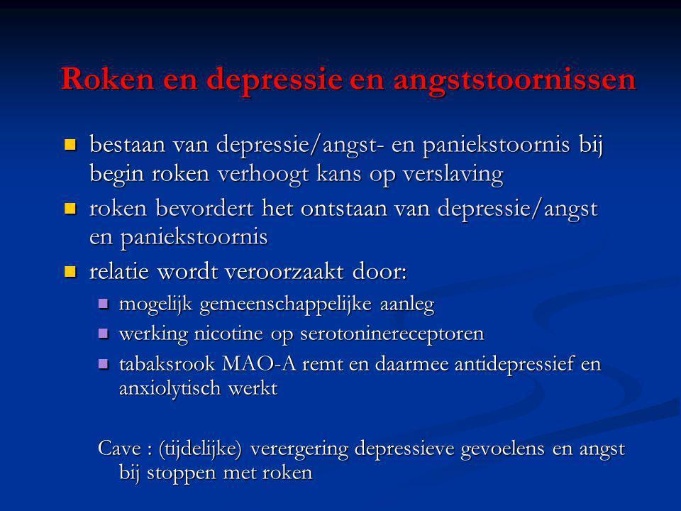 Roken en depressie en angststoornissen bestaan van depressie/angst- en paniekstoornis bij begin roken verhoogt kans op verslaving bestaan van depressi