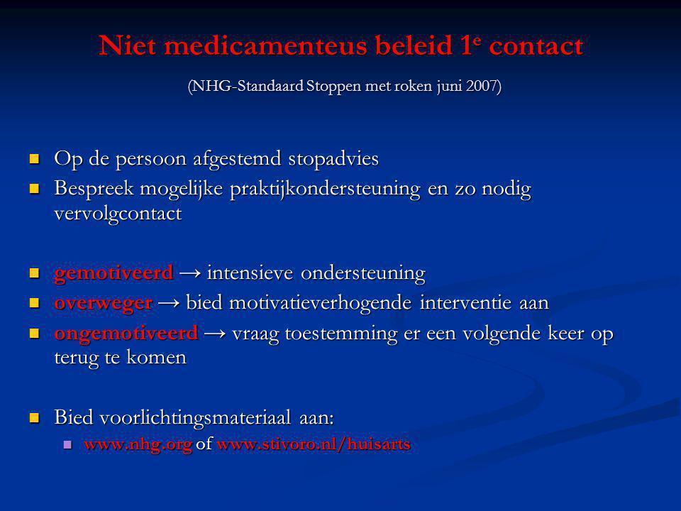 Niet medicamenteus beleid 1 e contact (NHG-Standaard Stoppen met roken juni 2007) Op de persoon afgestemd stopadvies Op de persoon afgestemd stopadvie