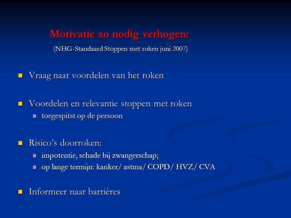Motivatie zo nodig verhogen: (NHG-Standaard Stoppen met roken juni 2007) Vraag naar voordelen van het roken Vraag naar voordelen van het roken Voordel