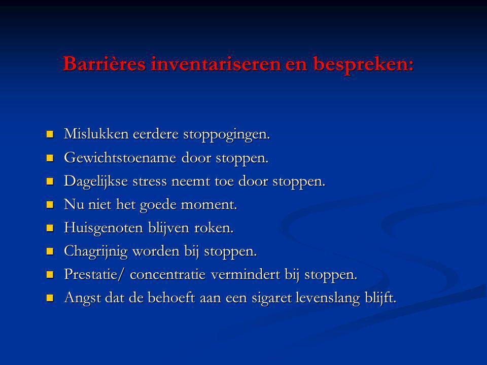 Barrières inventariseren en bespreken: Mislukken eerdere stoppogingen. Mislukken eerdere stoppogingen. Gewichtstoename door stoppen. Gewichtstoename d