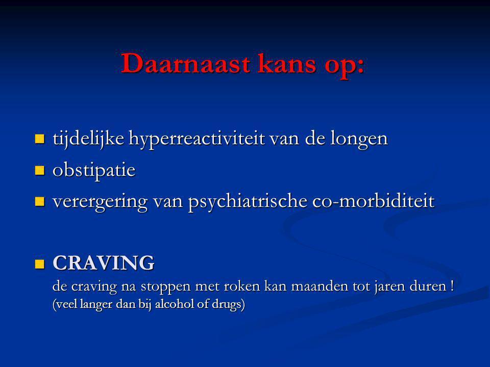 Daarnaast kans op: tijdelijke hyperreactiviteit van de longen tijdelijke hyperreactiviteit van de longen obstipatie obstipatie verergering van psychia