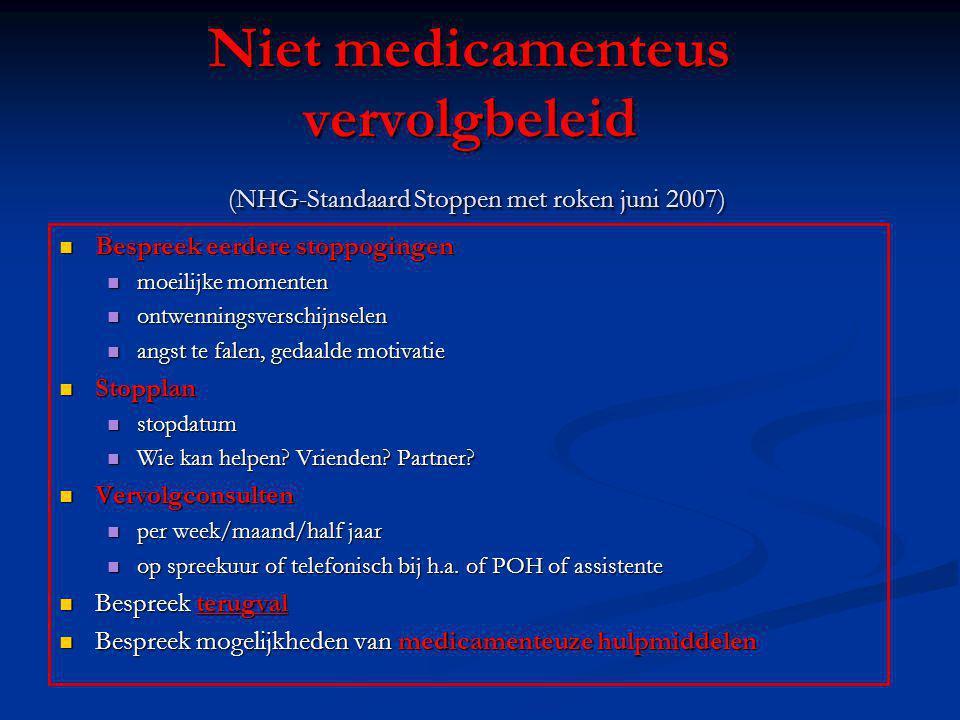 Niet medicamenteus vervolgbeleid (NHG-Standaard Stoppen met roken juni 2007) Bespreek eerdere stoppogingen Bespreek eerdere stoppogingen moeilijke mom