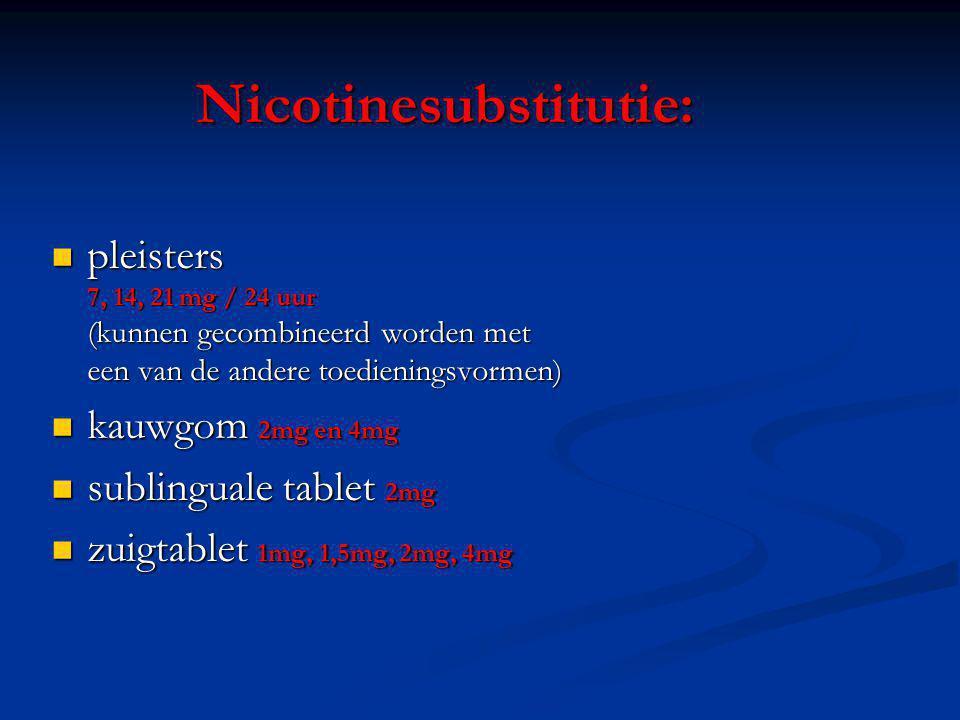 Nicotinesubstitutie: pleisters 7, 14, 21 mg / 24 uur (kunnen gecombineerd worden met een van de andere toedieningsvormen) pleisters 7, 14, 21 mg / 24