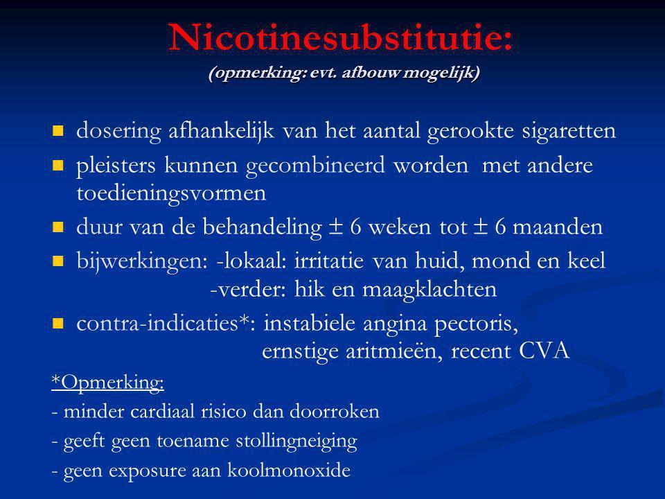 (opmerking: evt. afbouw mogelijk) Nicotinesubstitutie: (opmerking: evt. afbouw mogelijk) dosering afhankelijk van het aantal gerookte sigaretten pleis