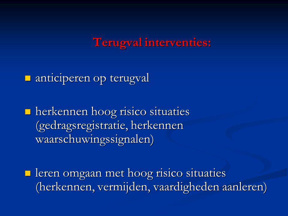 Terugval interventies: anticiperen op terugval anticiperen op terugval herkennen hoog risico situaties (gedragsregistratie, herkennen waarschuwingssig