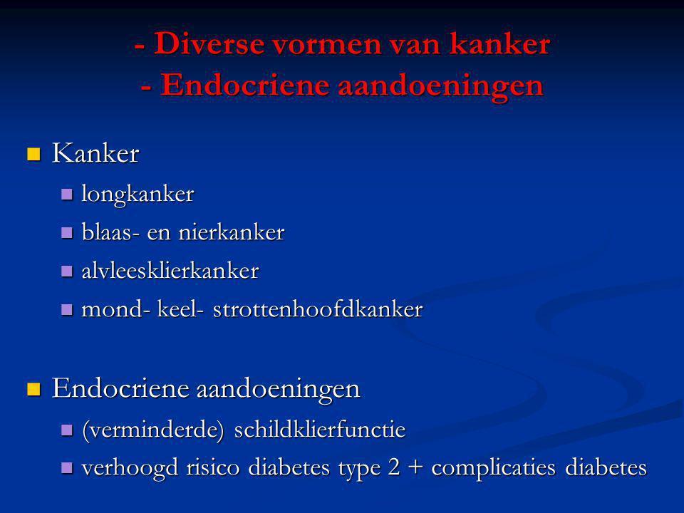 - Mond- en huidziekten - Gastro-intestinale aandoeningen Mond: Mond: diverse vormen van kanker diverse vormen van kanker parodontitis parodontitis stomatitis stomatitis Huid: Huid: Veroudering huid / rimpels Veroudering huid / rimpels Gastro-intestinaal: Gastro-intestinaal: risico op maagzweer risico op maagzweer risico op ziekte van Crohn risico op ziekte van Crohn verbetering (!!!) colitis ulcerosa (door nicotine) verbetering (!!!) colitis ulcerosa (door nicotine)