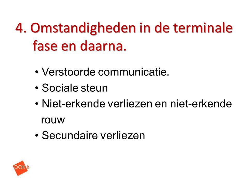 4. Omstandigheden in de terminale fase en daarna. Verstoorde communicatie. Sociale steun Niet-erkende verliezen en niet-erkende rouw Secundaire verlie