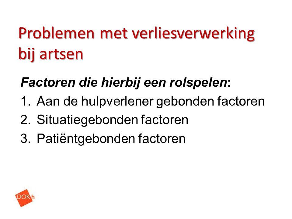 Problemen met verliesverwerking bij artsen Factoren die hierbij een rolspelen: 1.Aan de hulpverlener gebonden factoren 2.Situatiegebonden factoren 3.P