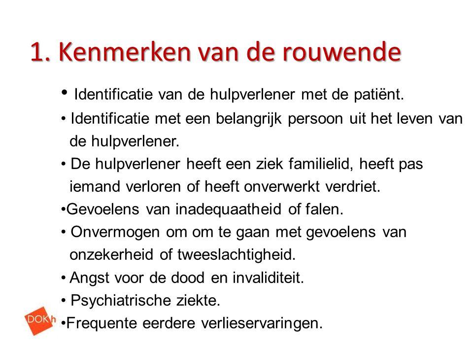 1. Kenmerken van de rouwende Identificatie van de hulpverlener met de patiënt. Identificatie met een belangrijk persoon uit het leven van de hulpverle