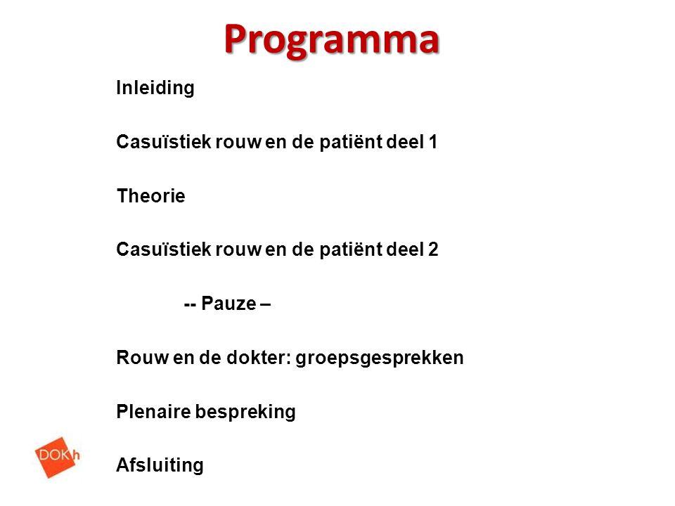 Programma Inleiding Casuïstiek rouw en de patiënt deel 1 Theorie Casuïstiek rouw en de patiënt deel 2 -- Pauze – Rouw en de dokter: groepsgesprekken P