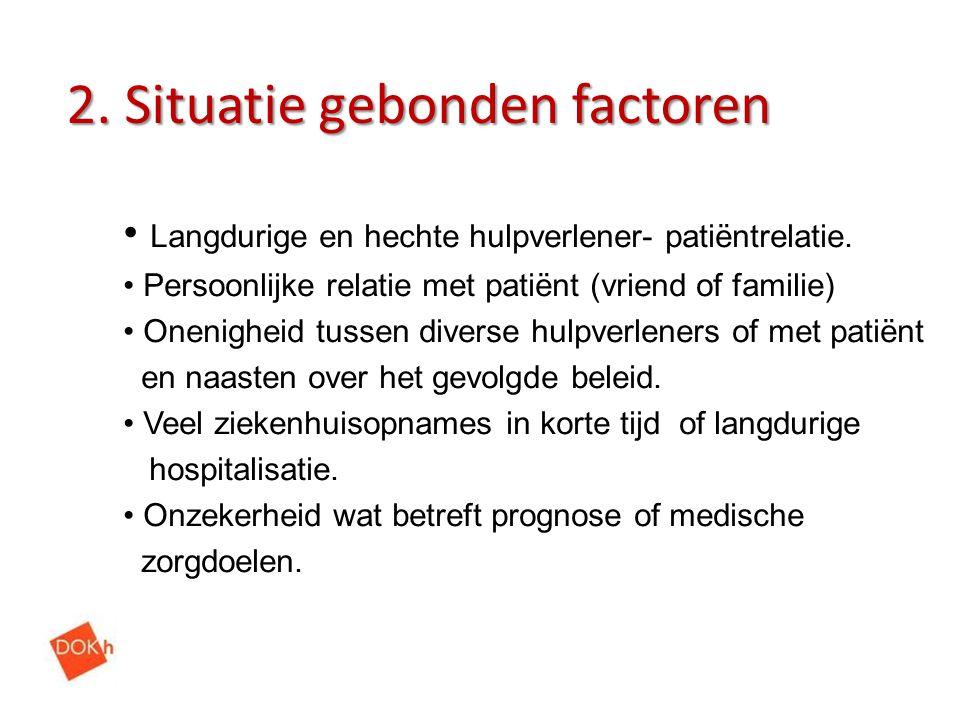 2. Situatie gebonden factoren Langdurige en hechte hulpverlener- patiëntrelatie. Persoonlijke relatie met patiënt (vriend of familie) Onenigheid tusse