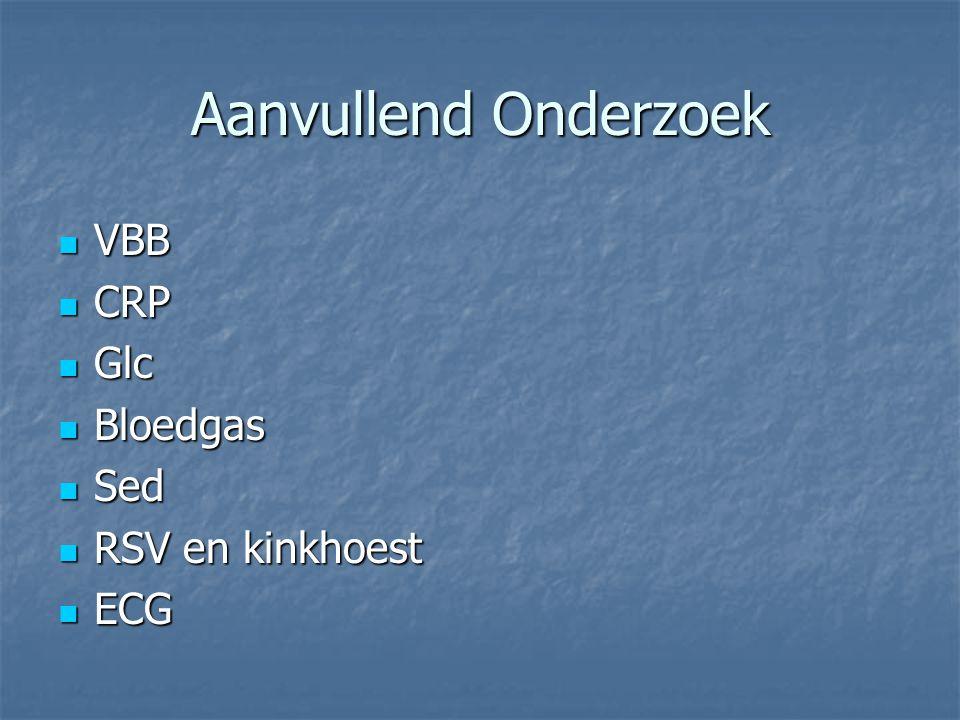 Aanvullend Onderzoek VBB VBB CRP CRP Glc Glc Bloedgas Bloedgas Sed Sed RSV en kinkhoest RSV en kinkhoest ECG ECG