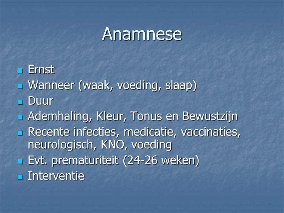 Anamnese Ernst Ernst Wanneer (waak, voeding, slaap) Wanneer (waak, voeding, slaap) Duur Duur Ademhaling, Kleur, Tonus en Bewustzijn Ademhaling, Kleur,