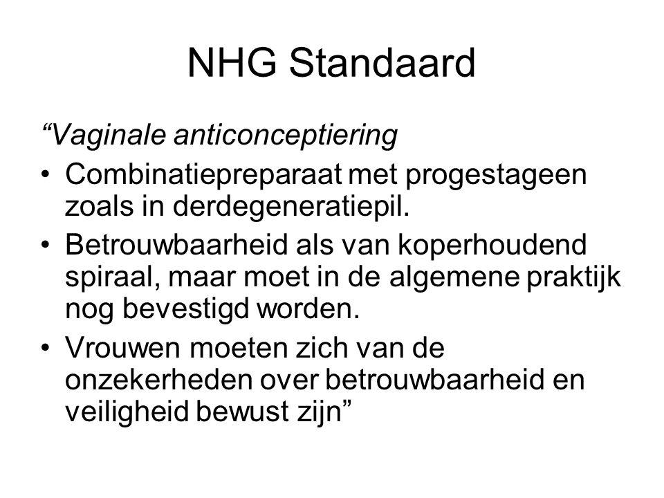 """NHG Standaard """"Vaginale anticonceptiering Combinatiepreparaat met progestageen zoals in derdegeneratiepil. Betrouwbaarheid als van koperhoudend spiraa"""