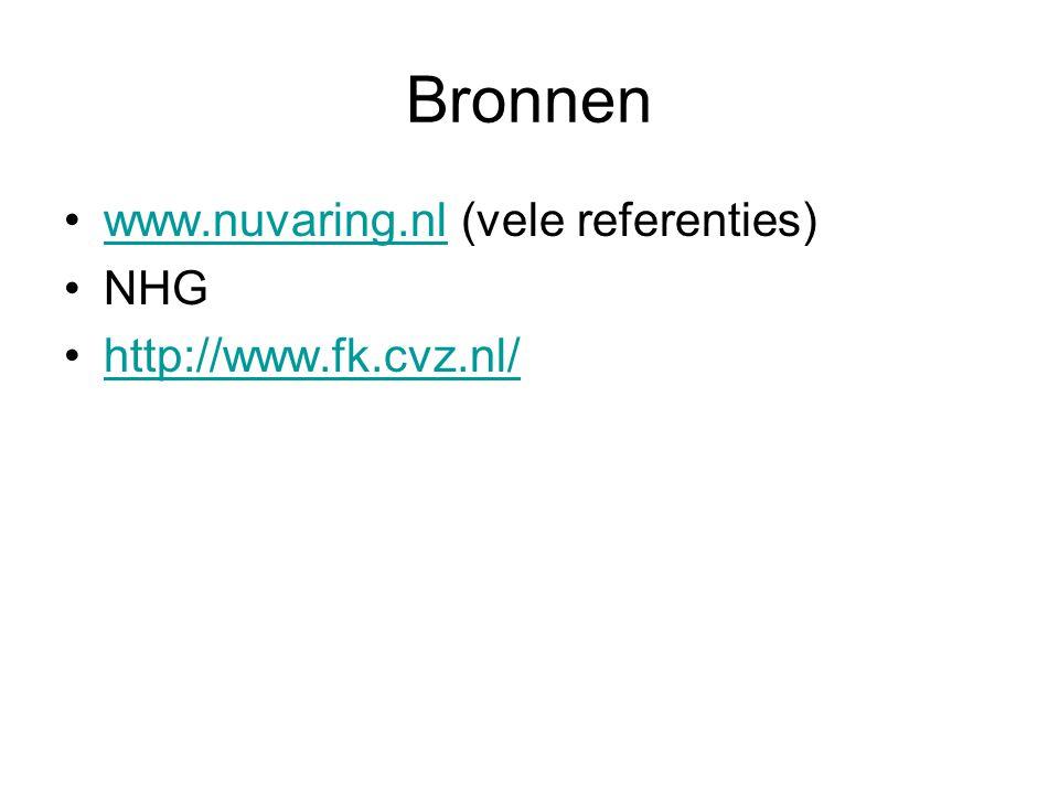 Bronnen www.nuvaring.nl (vele referenties)www.nuvaring.nl NHG http://www.fk.cvz.nl/