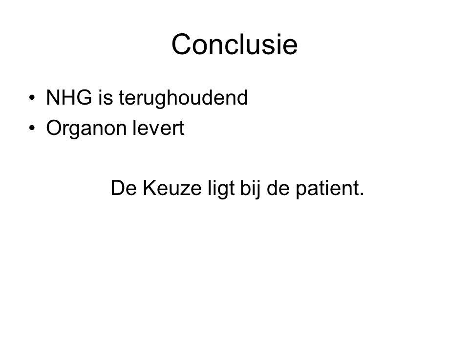Conclusie NHG is terughoudend Organon levert De Keuze ligt bij de patient.