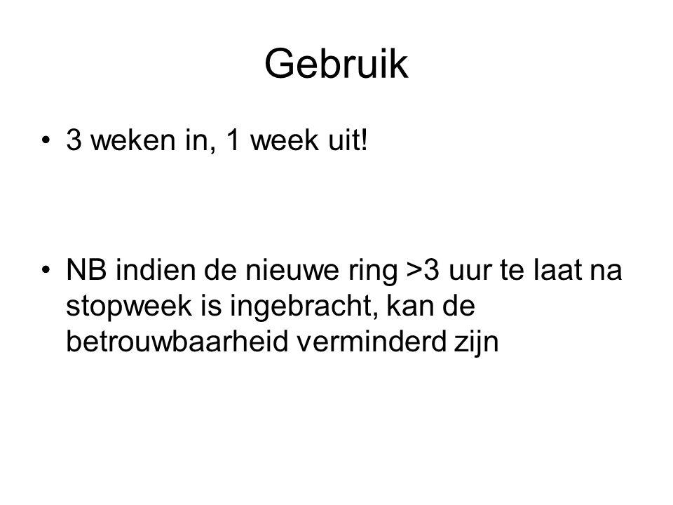 Gebruik 3 weken in, 1 week uit! NB indien de nieuwe ring >3 uur te laat na stopweek is ingebracht, kan de betrouwbaarheid verminderd zijn