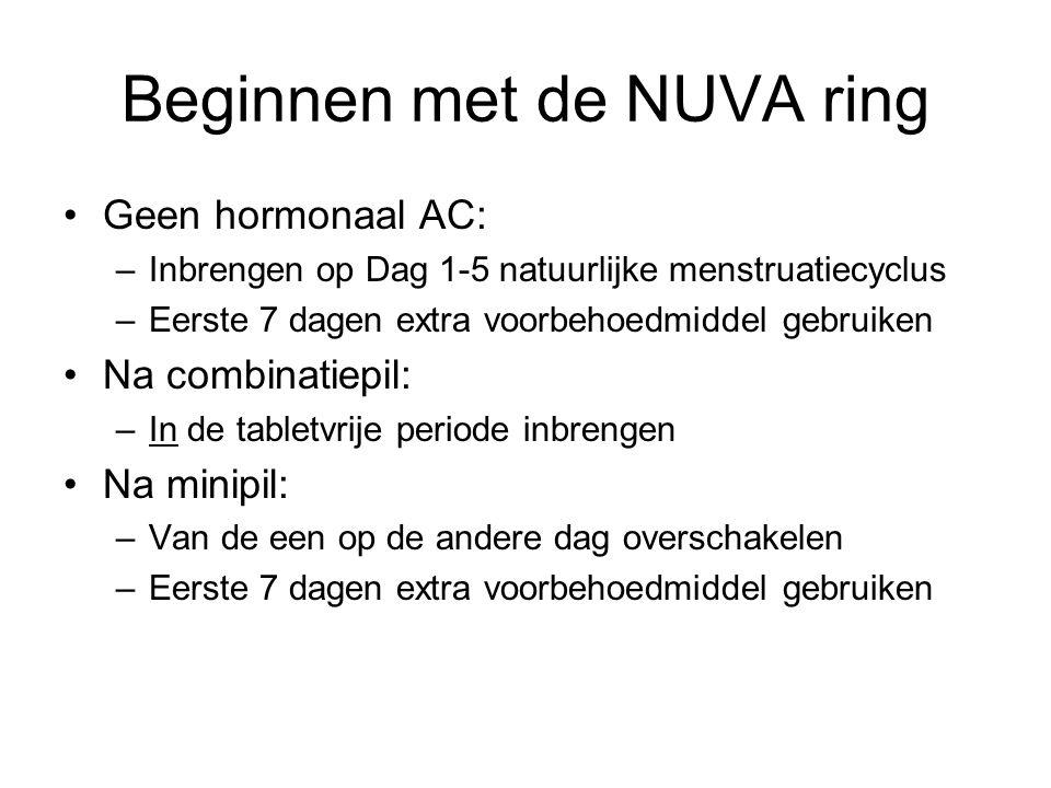 Beginnen met de NUVA ring Geen hormonaal AC: –Inbrengen op Dag 1-5 natuurlijke menstruatiecyclus –Eerste 7 dagen extra voorbehoedmiddel gebruiken Na c