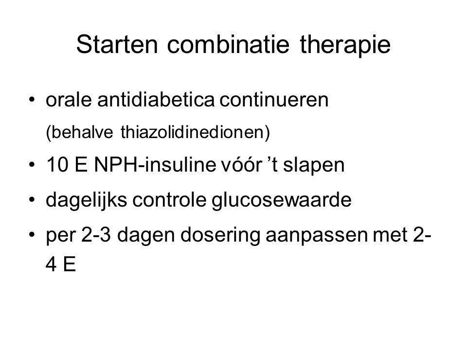 Starten combinatie therapie orale antidiabetica continueren (behalve thiazolidinedionen) 10 E NPH-insuline vóór 't slapen dagelijks controle glucosewa