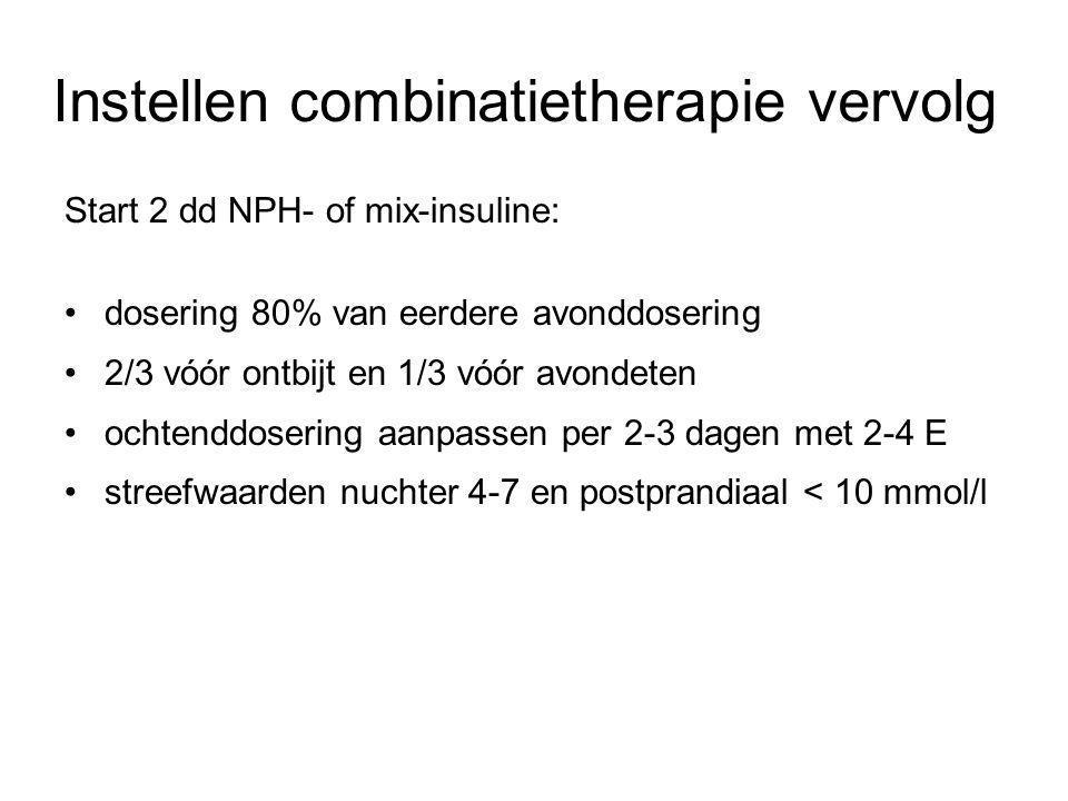 Instellen combinatietherapie vervolg Start 2 dd NPH- of mix-insuline: dosering 80% van eerdere avonddosering 2/3 vóór ontbijt en 1/3 vóór avondeten oc