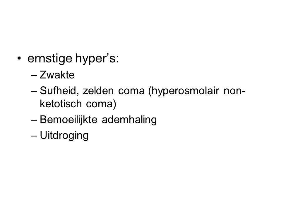 ernstige hyper's: –Zwakte –Sufheid, zelden coma (hyperosmolair non- ketotisch coma) –Bemoeilijkte ademhaling –Uitdroging