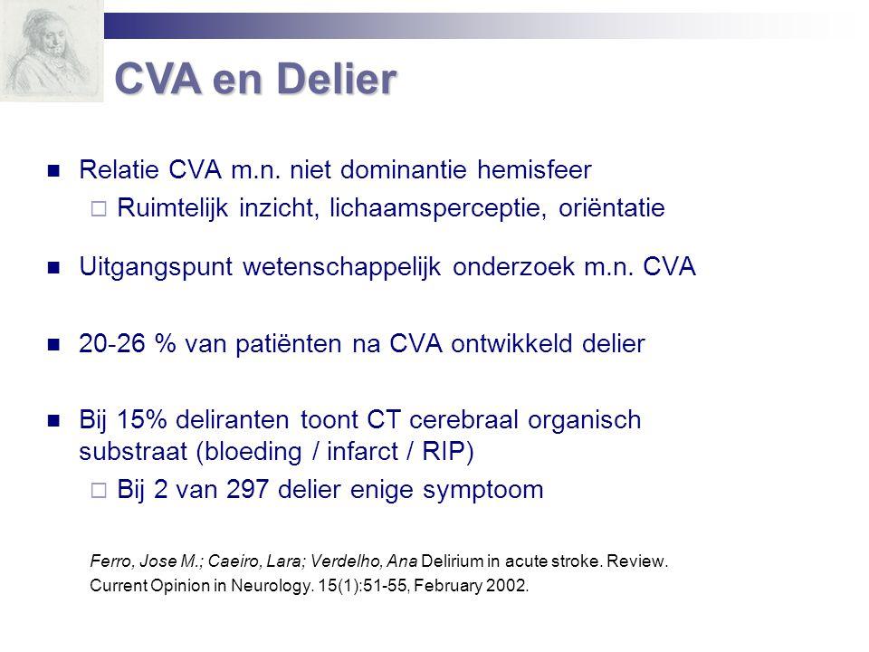 Relatie CVA m.n. niet dominantie hemisfeer  Ruimtelijk inzicht, lichaamsperceptie, oriëntatie Uitgangspunt wetenschappelijk onderzoek m.n. CVA 20-26