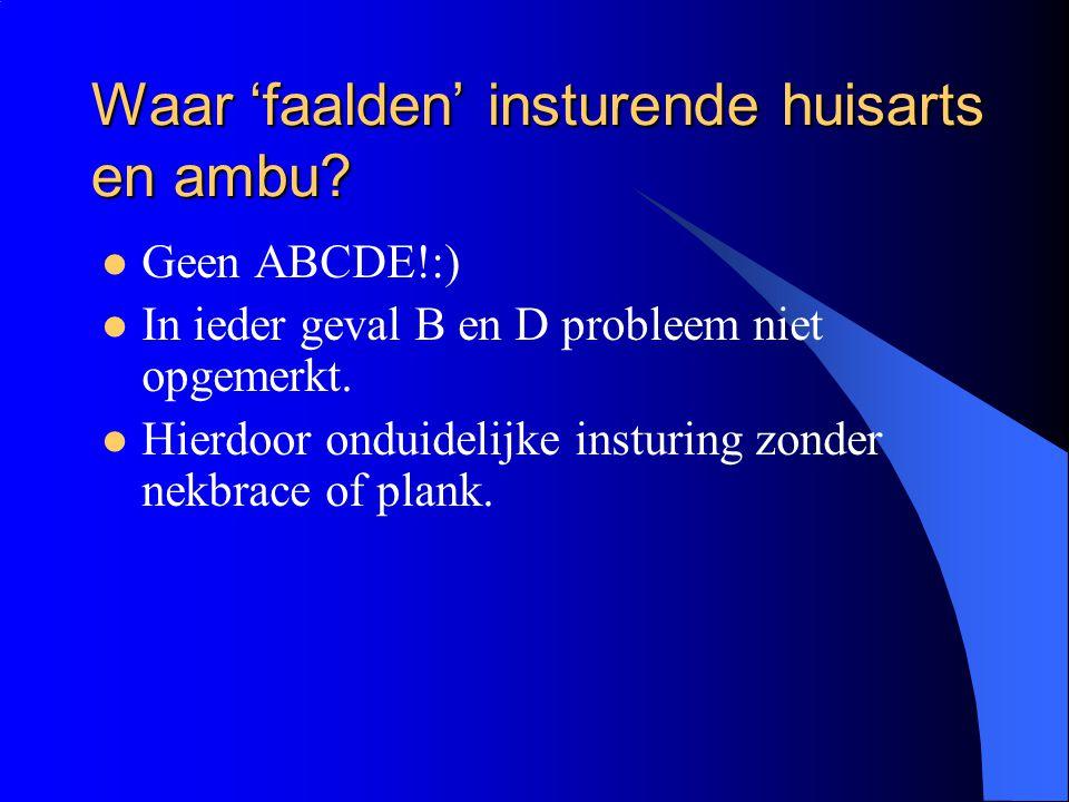 Waar 'faalden' insturende huisarts en ambu? Geen ABCDE!:) In ieder geval B en D probleem niet opgemerkt. Hierdoor onduidelijke insturing zonder nekbra