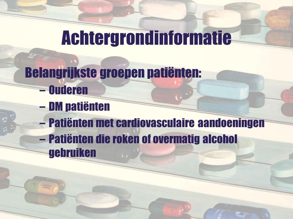 Vervolg Top 10 geneesmiddelen bij polyfarmaciepatiënten –Antithrombotica53% –Bètablokkers44% –Antilipemica42% –Maagzuurremmers32% –ACE-remmers29% –Orale bloed-glucoseverlagende middelen24% –Hypnotica en sedativa22% –Diuretica21% –Anxiolytica20% –Selectieve Ca2+ antagonisten 19%