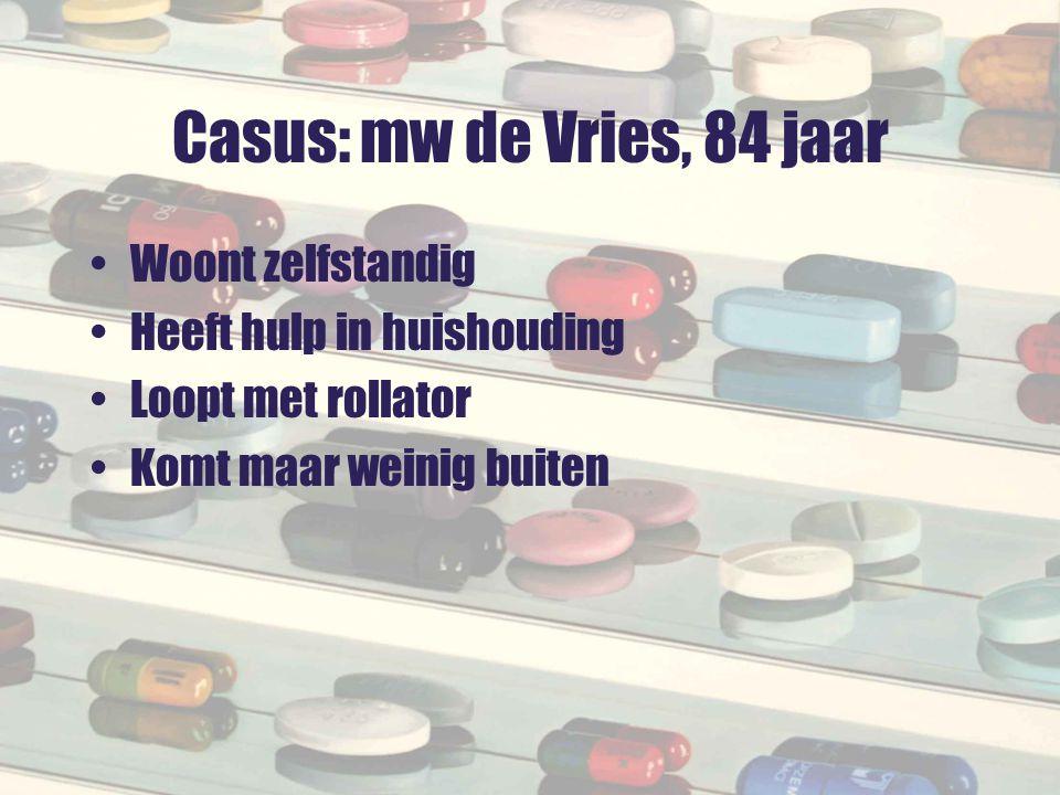 Casus: mw de Vries, 84 jaar Woont zelfstandig Heeft hulp in huishouding Loopt met rollator Komt maar weinig buiten
