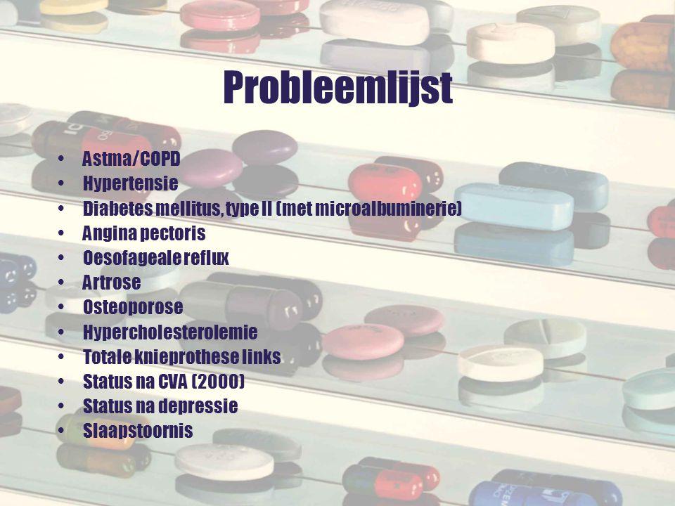 Probleemlijst Astma/COPD Hypertensie Diabetes mellitus, type II (met microalbuminerie) Angina pectoris Oesofageale reflux Artrose Osteoporose Hypercho