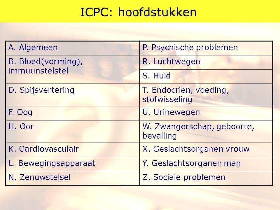 ICPC: hoofdstukken A. AlgemeenP. Psychische problemen B. Bloed(vorming), immuunstelstel R. Luchtwegen S. Huid D. SpijsverteringT. Endocrien, voeding,