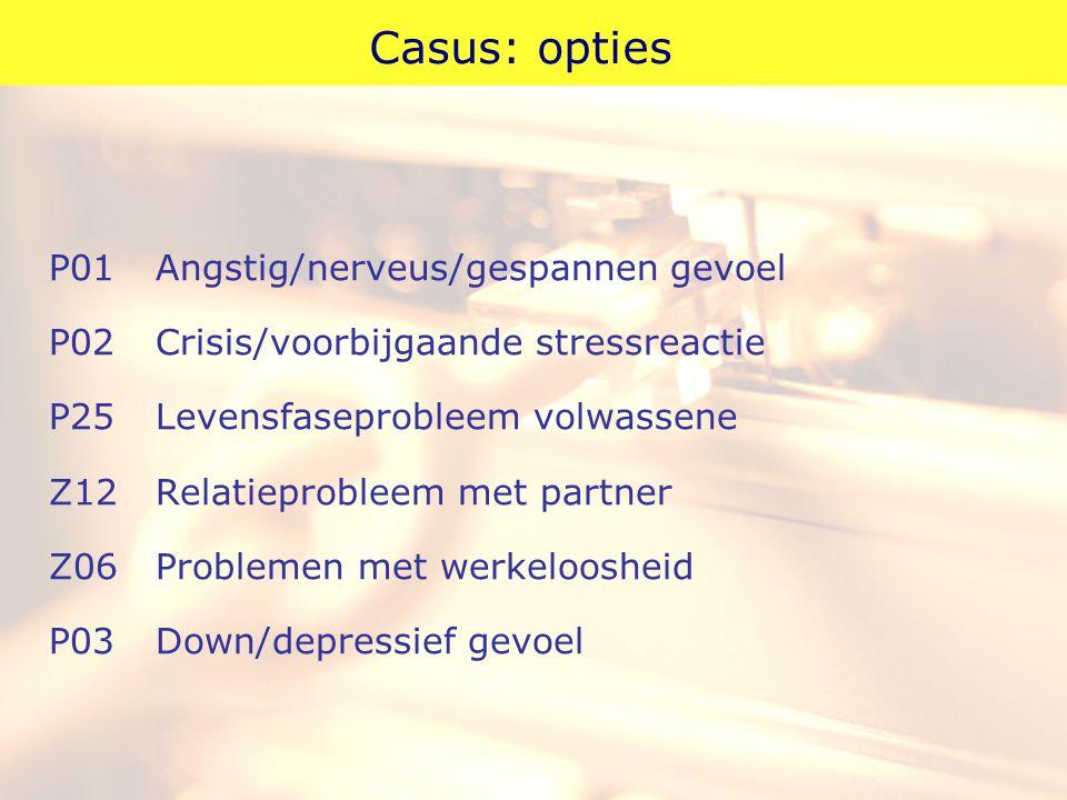 Casus: opties P01Angstig/nerveus/gespannen gevoel P02Crisis/voorbijgaande stressreactie P25Levensfaseprobleem volwassene Z12Relatieprobleem met partne