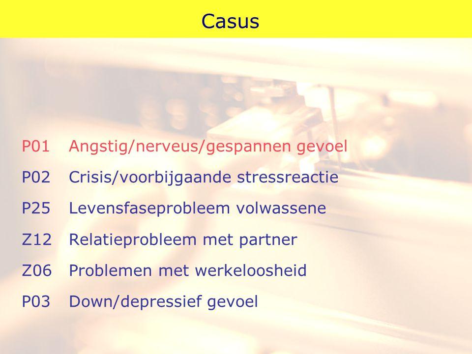 Casus P01Angstig/nerveus/gespannen gevoel P02Crisis/voorbijgaande stressreactie P25Levensfaseprobleem volwassene Z12Relatieprobleem met partner Z06Pro