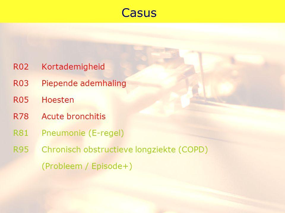 Casus R02Kortademigheid R03Piepende ademhaling R05Hoesten R78Acute bronchitis R81Pneumonie (E-regel) R95Chronisch obstructieve longziekte (COPD) (Prob