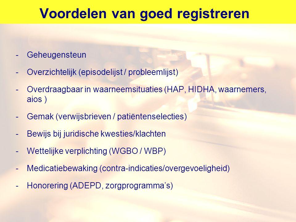 Voordelen van goed registreren -Geheugensteun -Overzichtelijk (episodelijst / probleemlijst) -Overdraagbaar in waarneemsituaties (HAP, HIDHA, waarneme
