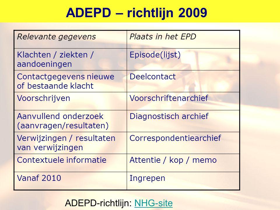 ADEPD – richtlijn 2009 Relevante gegevensPlaats in het EPD Klachten / ziekten / aandoeningen Episode(lijst) Contactgegevens nieuwe of bestaande klacht