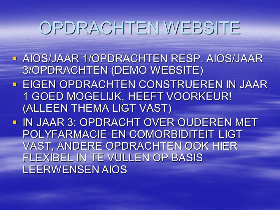 OPDRACHTEN WEBSITE  AIOS/JAAR 1/OPDRACHTEN RESP.