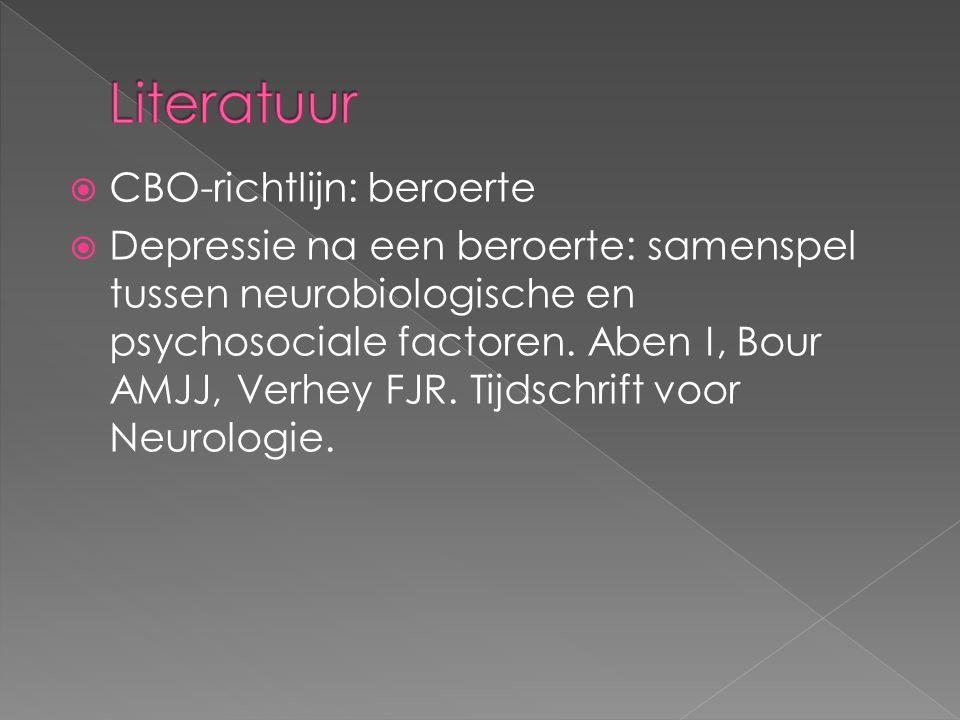  CBO-richtlijn: beroerte  Depressie na een beroerte: samenspel tussen neurobiologische en psychosociale factoren.