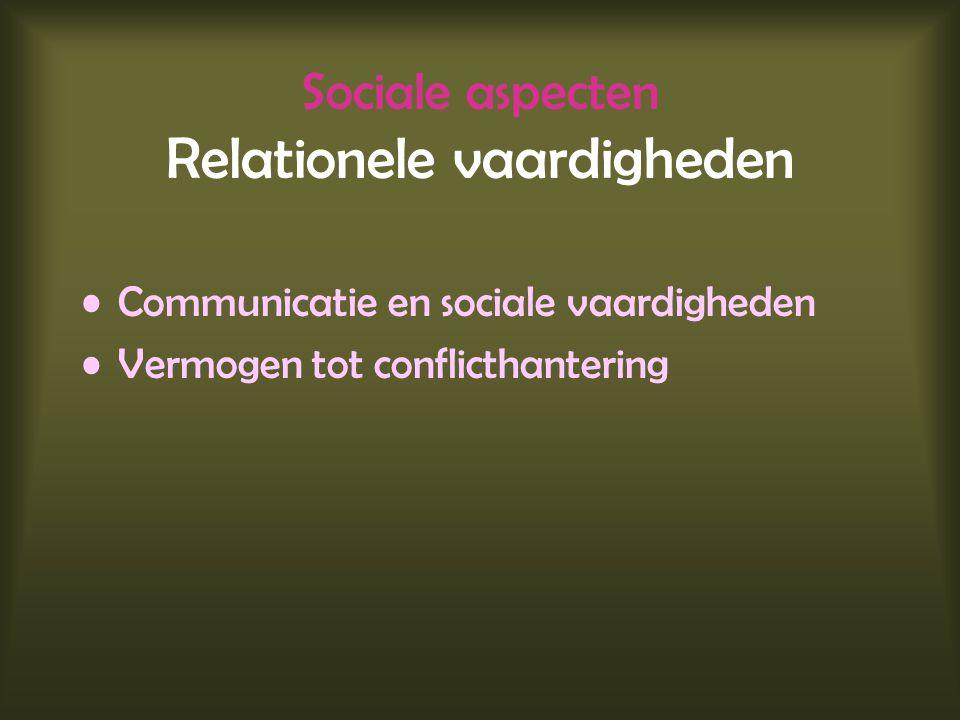 Sociale aspecten Relationele vaardigheden Communicatie en sociale vaardigheden Vermogen tot conflicthantering