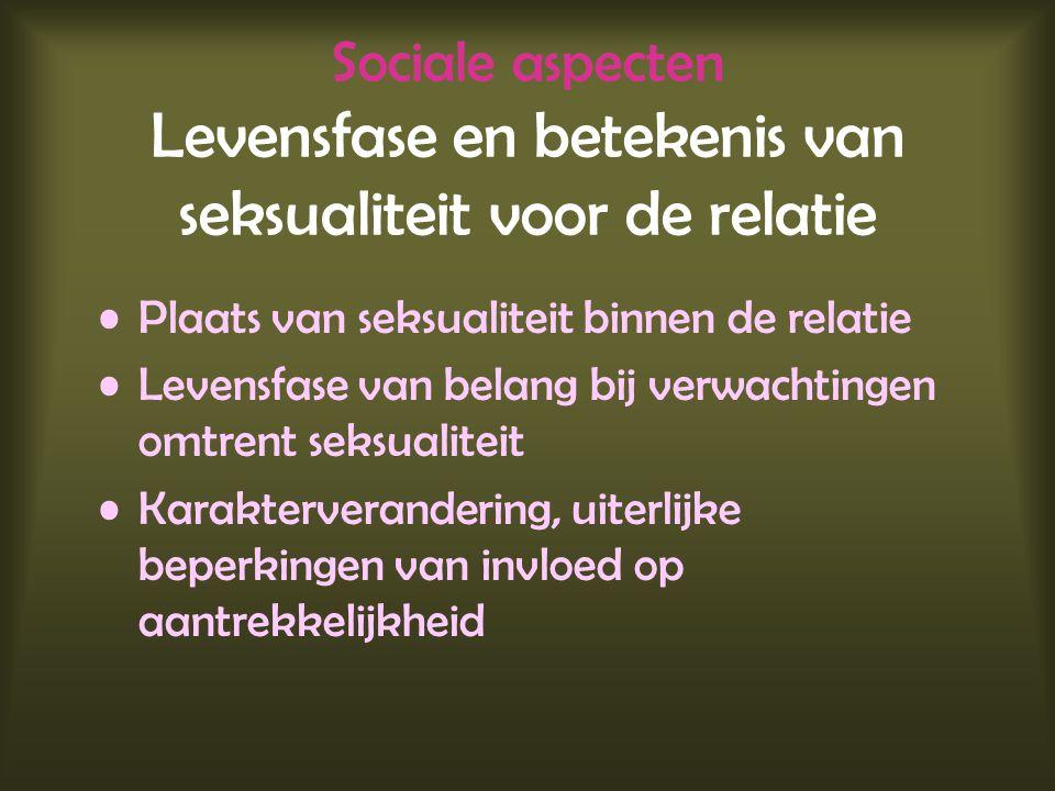 Sociale aspecten Levensfase en betekenis van seksualiteit voor de relatie Plaats van seksualiteit binnen de relatie Levensfase van belang bij verwacht