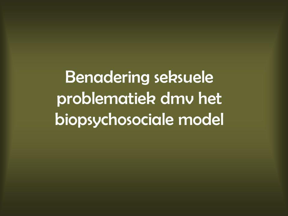 Biopsychosociale benadering Biologische aspecten –Directe invloeden –Indirecte invloeden –Iatrogene invloeden Psychologische aspecten –Invloed op lichaamsbeeld –Invloed op zelfbeeld –Aanpassingsvermogen –Betekenis van seksualiteit voor het individu Sociale aspecten –Relationele vaardigheden –Rolverwisseling en rolverwarring –Levensfase en betekenis van seksualiteit voor de relatie