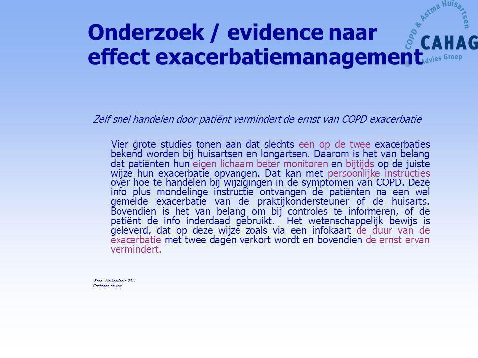 Onderzoek / evidence naar effect exacerbatiemanagement Zelf snel handelen door patiënt vermindert de ernst van COPD exacerbatie Vier grote studies ton
