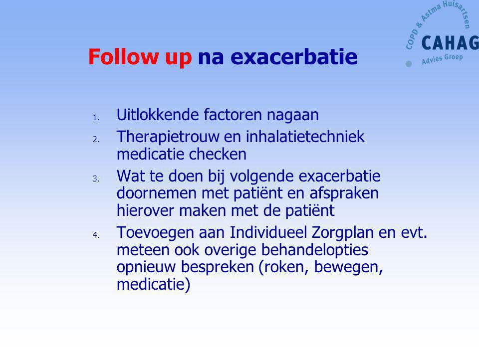 Follow up na exacerbatie 1. Uitlokkende factoren nagaan 2. Therapietrouw en inhalatietechniek medicatie checken 3. Wat te doen bij volgende exacerbati