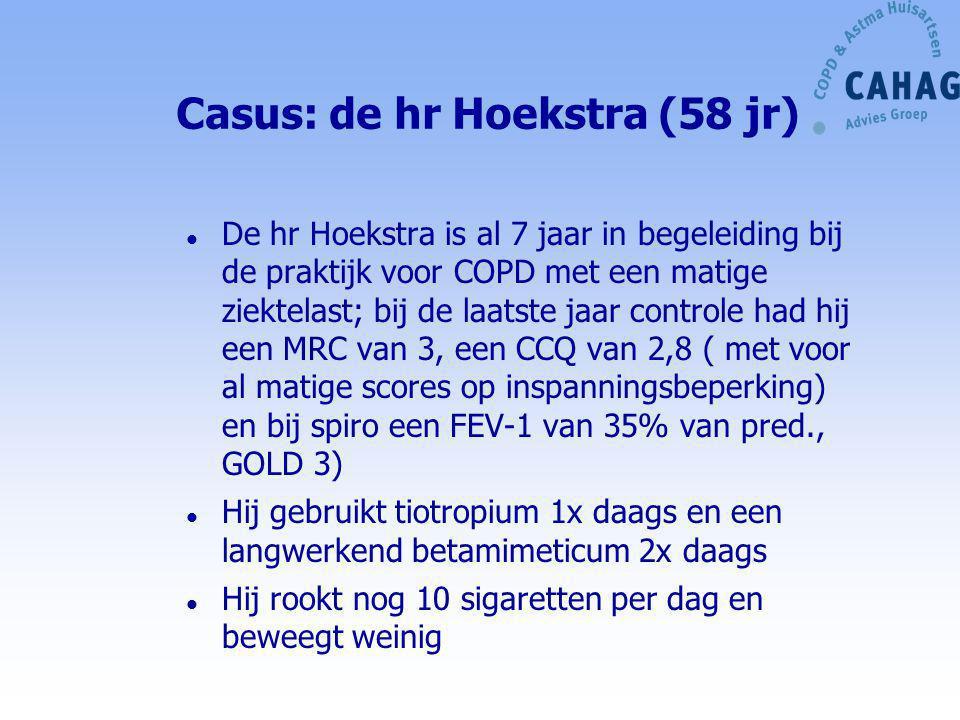 Casus: de hr Hoekstra (58 jr) l De hr Hoekstra is al 7 jaar in begeleiding bij de praktijk voor COPD met een matige ziektelast; bij de laatste jaar co
